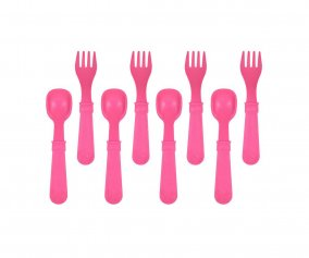 Re-Play 8 Pack Utensils - Bright Pink