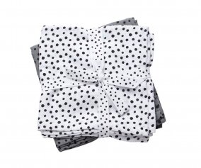 Swaddle, 2-pack, Happy dots, grey