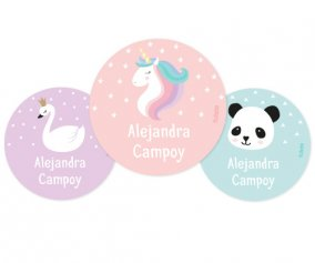 Lot de 3 Badges Licorne Personnalisable