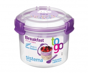 Récipient Alimentaire Personnalisable Breakfast To Go Lilas 530 ml