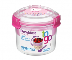 Récipient Alimentaire Personnalisable Breakfast To Go Rose 530 ml