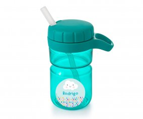 Borraccia Top con Cannuccia Teal 360ml Personalizzabile