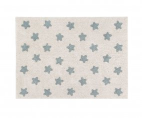 Alfombra Lavable Stars Natural-Vintage Blue