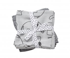 2 Muslin Cloths Contour Grey