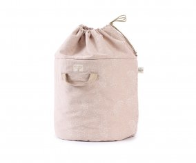 Organizer Piccolo Bamboo Toy Bag White Bubble-Misty Pink