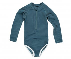 Tuta Nuoto ML Bimba Ocean Ribbed Pacific Blue