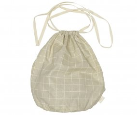 Multibag in Cotone Large Check Oyster Grey