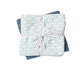 2 Muslin Cloths Balloon Blue