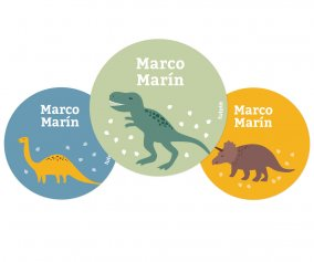 Pack 3 Badges Personnalisables Monde Dinosaures