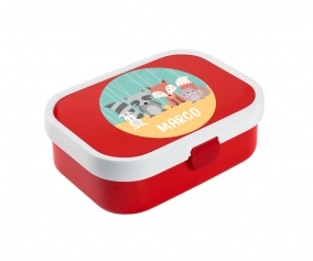 Personalised Red Midi Campus Lunch Box Animals
