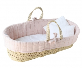 Cesta Baby Moses Basket Suuky Stripe Pink Fold