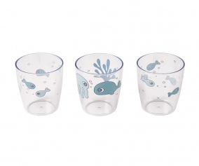 3 Drinking Cups Sea Friends Blue