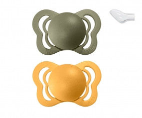 2 Sucettes BIBS Couture Couture Honey Bee/Olive Silicone
