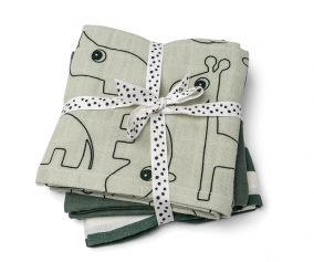 3 Muslin Cloths Deer Friends Green