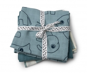 3 Muslin Cloths Deer Friends Blue
