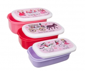 3 Snack Lunch Boxes Princess