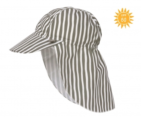 Flap Hat with Sun Protection Stripes Olive