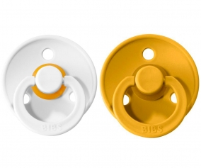 2 Sucettes BIBS Colours White/Mustard
