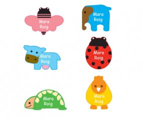 6 Animal Iron-On Labels