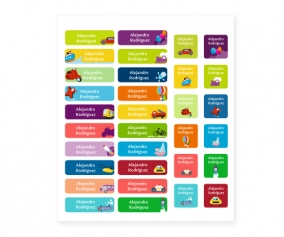 38 Vroom Vroom Iron-On Labels & 20 Stickers Combination Pack