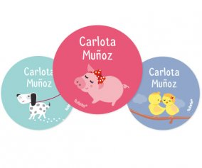 3 Pack Personalised Baby Animals Badges