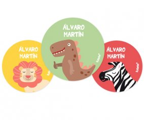 3 Pack Personalised Dino Badges