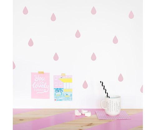 Vinilo pared gotas de lluvia rosa palo - Habitacion rosa palo ...