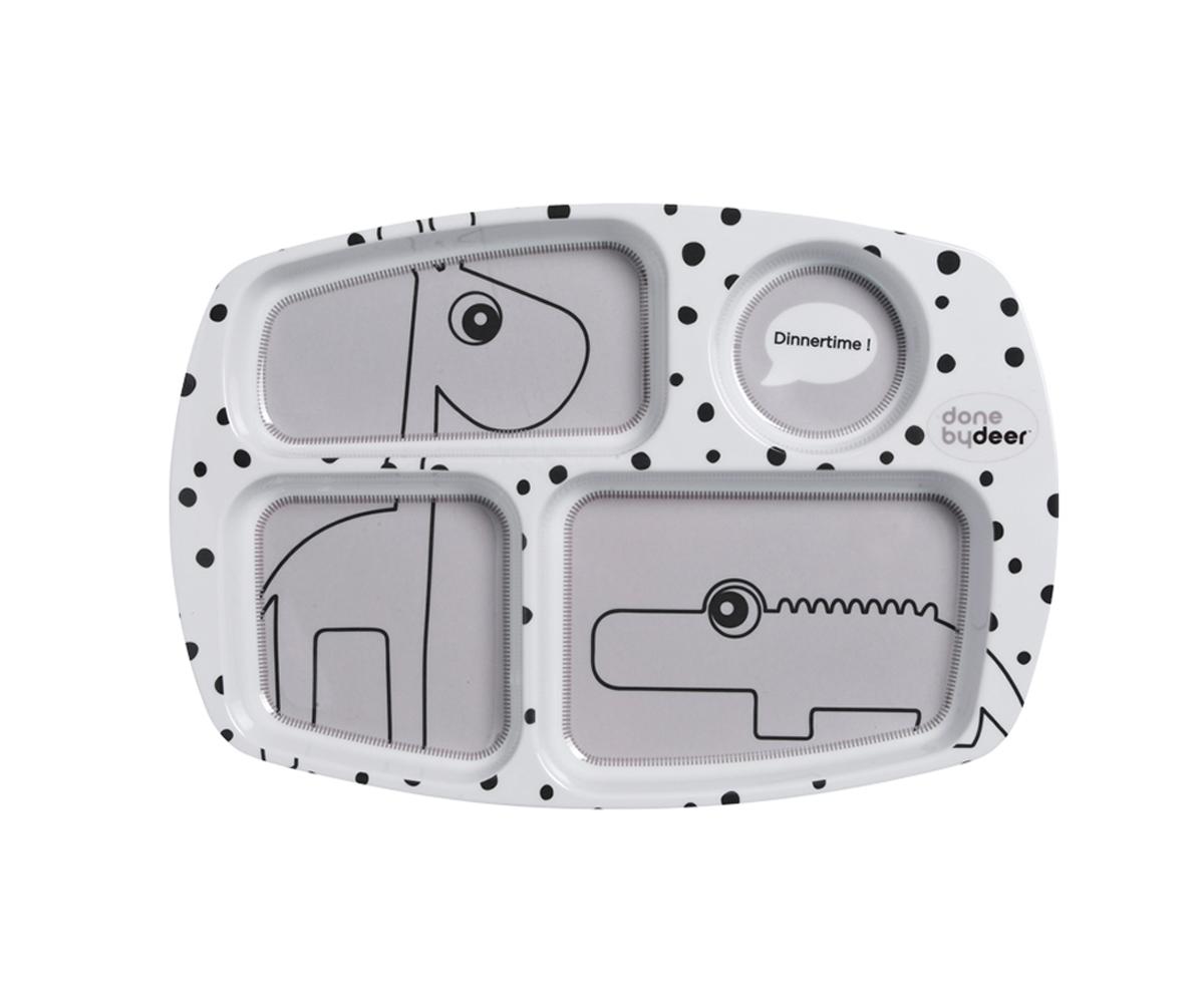 Plato con compartimentos happy dots gris for Platos con compartimentos