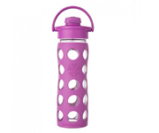 16 oz Glass Bottle with Flip Cap and Silicone Sleeve Huckleberry