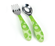 Toddler Fork & Spoon Green