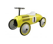 Yellow Ride-on-vehicle with fuel cap