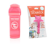 Pack Twistshake Coral 260ml y Enganche Lil' Sidekick Rosa