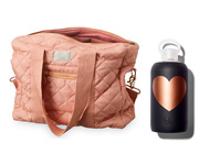 Pack de Botella BKR Heart Copper Jet 500ml y Bolso de Maternidad Rosa