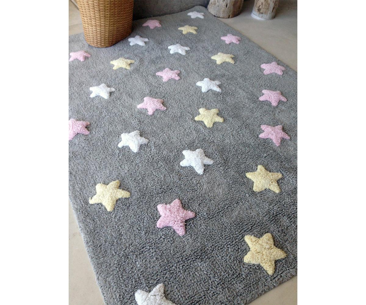 Alfombra lavable lorena canals estrellas tricolor gris rosa - Lorena canals alfombras ...