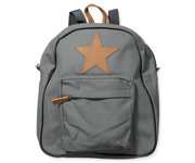 Back Pack, Large, Dark grey with leather Star