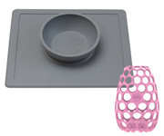 Ciotola The Happy Bowl Grigio +  Grip per Biberon Flamingo