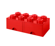 LEGO Brick Drawer 8 Knobs (2 drawers) Red