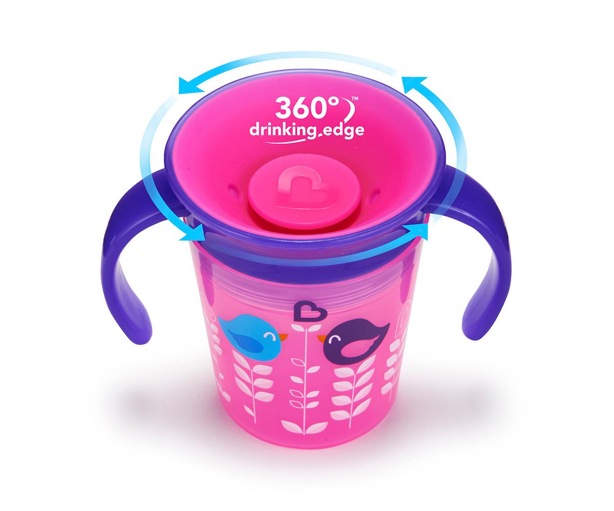 Vasito de entrenamiento para bebe antivuelco antigoteo rosa con asas - Artículos para bebé de Munchkin