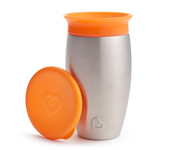 Vaso Antigoteo Miracle 360º Acero Inoxidable Naranja 295ml