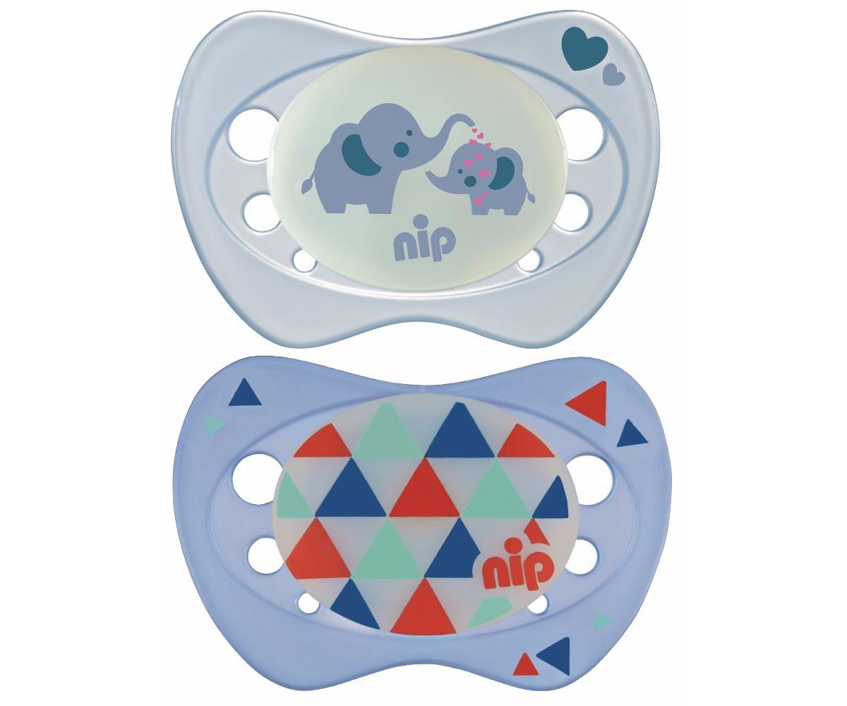 2 Chupetes Nip Día-Noche Elefantes y Triángulos Azul 16-32m