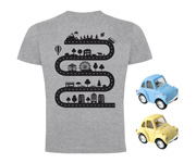 Pack Camiseta Broom Broom Gris + 2 Coches Azul/Amarillo