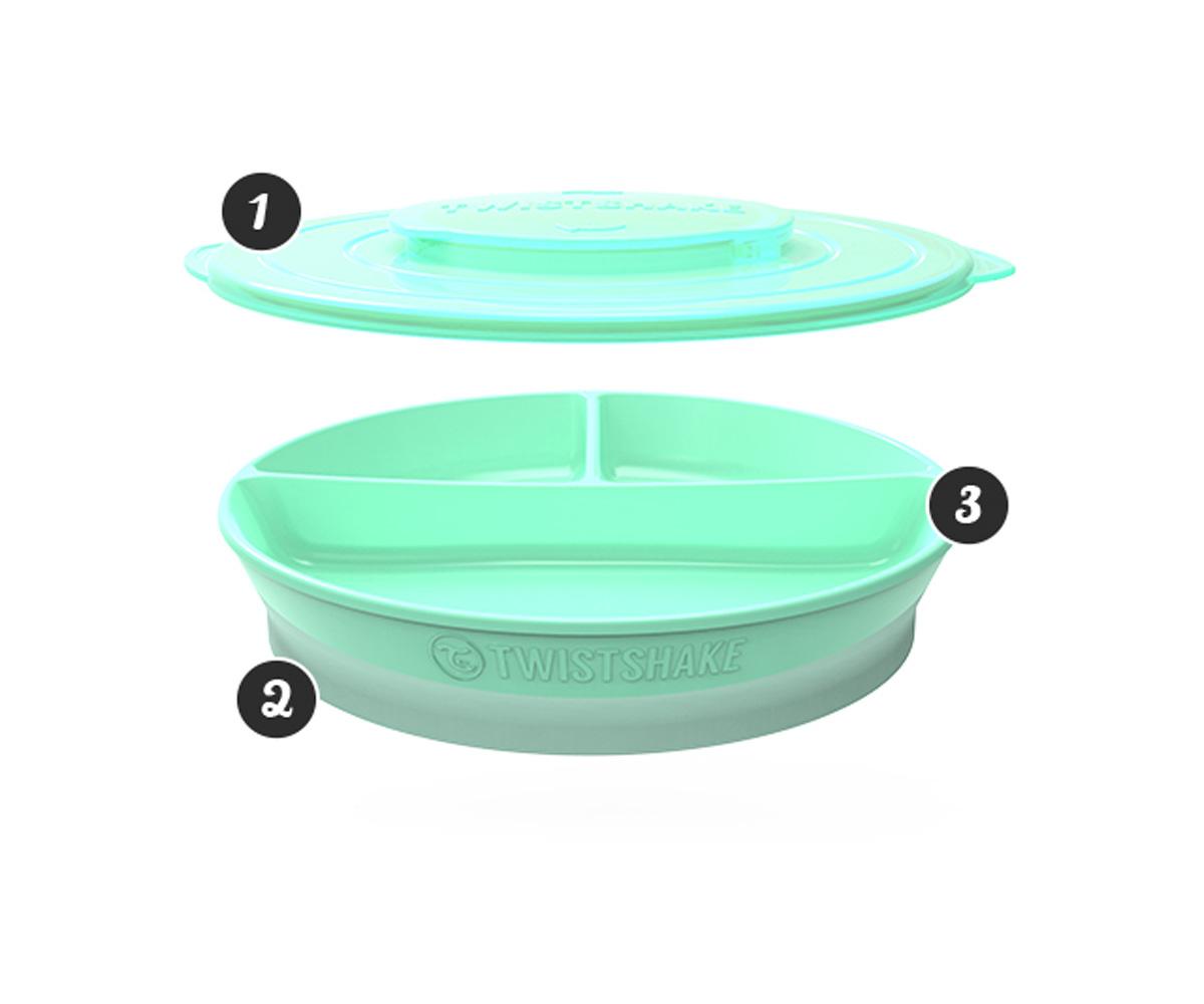 Plato con compartimentos twistshake azul pastel for Platos con compartimentos