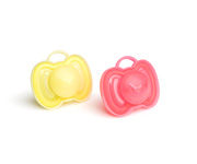 2 Chupetes Herobility Coral-Amarillo 0-6m