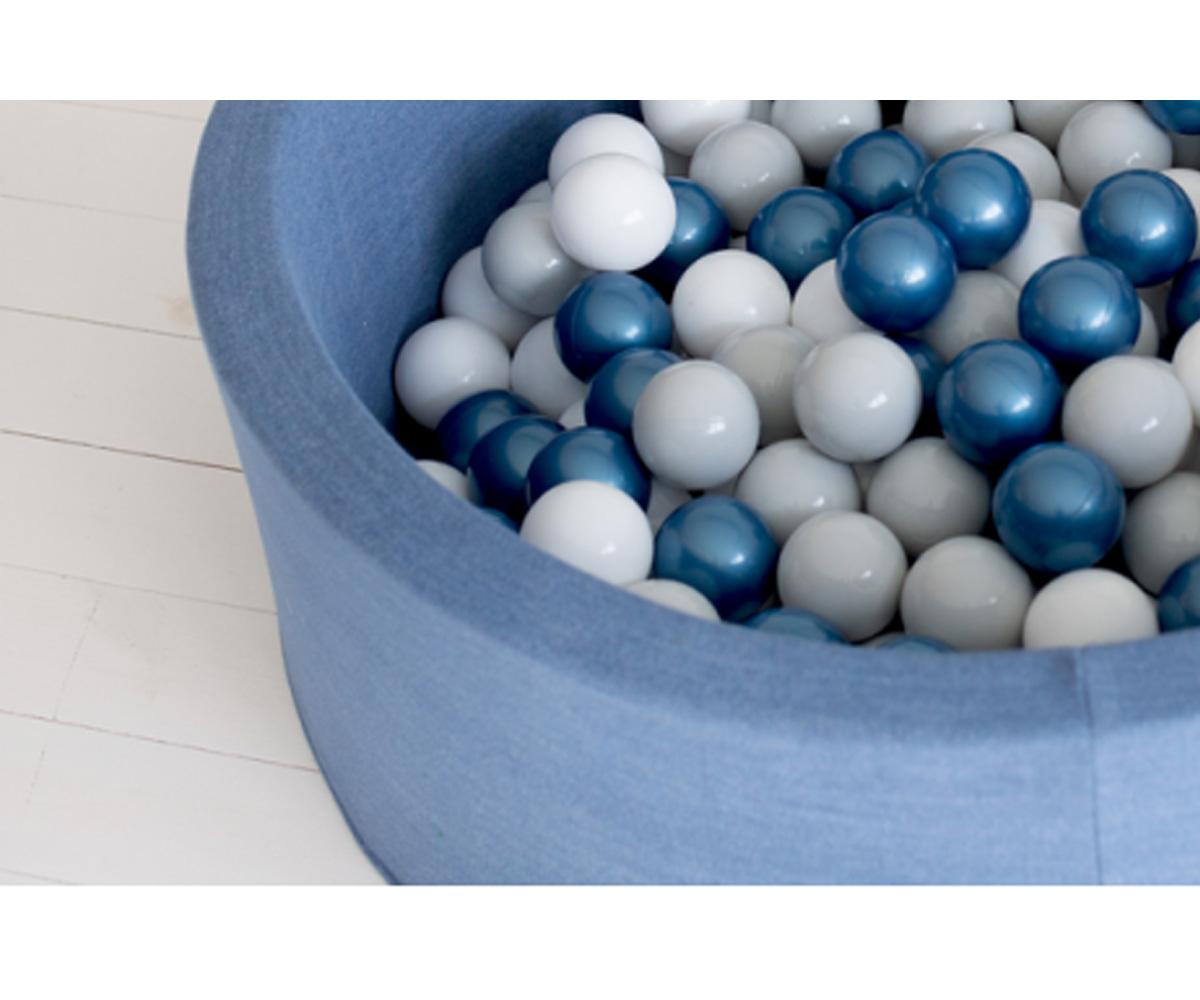 Piscina bolas para beb jeans azul met lico blanco y gris claro tutete - Piscina de bolas para bebes ...