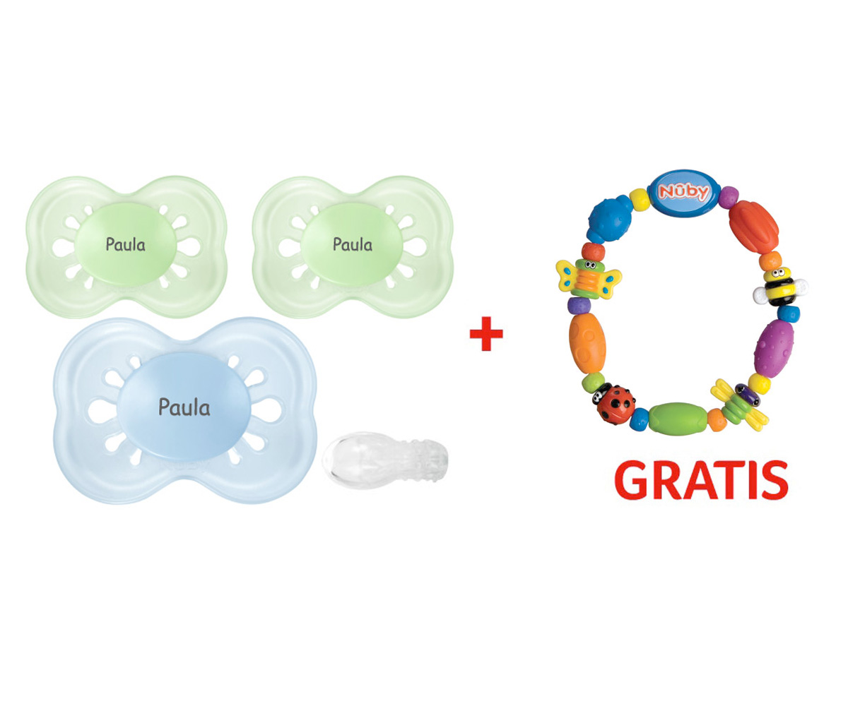 Promozione Nûby: Succhietti Pastel+6 Personalizzati + Dentarello Gratis