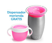 Promo Vaso Antigoteo Personalizable 360º Acero Inoxidable 295ml + Dispensador Merienda Rosa