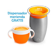 Promo Vaso Antigoteo Personalizable 360º Acero Inoxidable 295ml + Dispensador Merienda Naranja