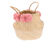 Cesta con Pompones Dusty Rose