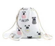 Sacca Zaino Doggy Unicorn Dark Grey Personalizzabile