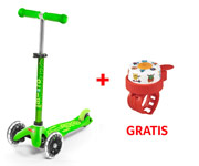 Patinete Mini Micro Deluxe Verde Luces LED + Timbre Monstruos